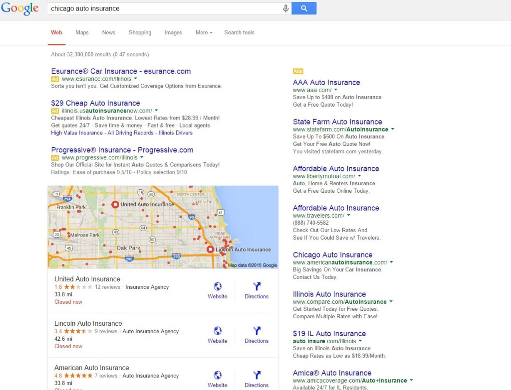 Chicago Auto Insurance SERP