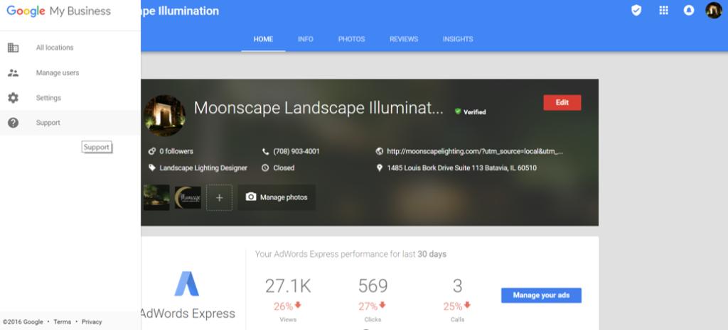 Google My Business Dashbaord